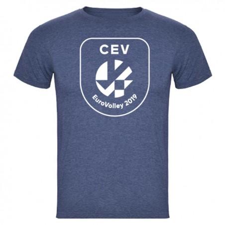 T-shirt Logo Puff Homme Euro-Volley 2019 Denim chiné