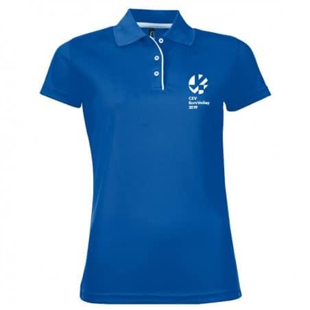 Polo Respirant Femme Logo Griffe Euro-Volley 2019 Bleu