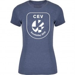T-shirt Logo Puff Femme Euro-Volley 2019 Denim chiné