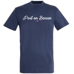 T-shirt Marine + Drapeau +  Port en Bessin