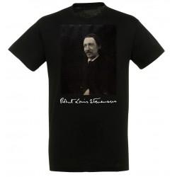 T-shirt Noir Homme Portait de Stevenson