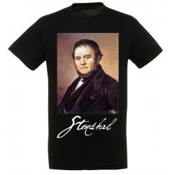 T-shirt Noir Homme Portait de Stendhal