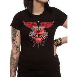 T-shirt femme Bon Jovi Heart  et  Dagger