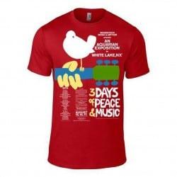 T-shirt WOODSTOCK - POSTER *HMV* rouge