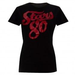 T-shirt femme NOIR logo Stars 80 rouge