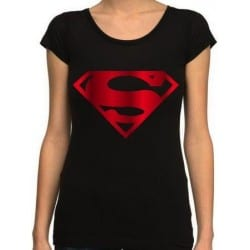 T-shirt femme SUPERMAN - metal rouge logo