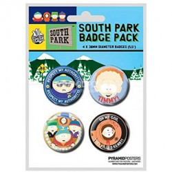 Pack de 4 badges South Park avec Timmy et Kenny