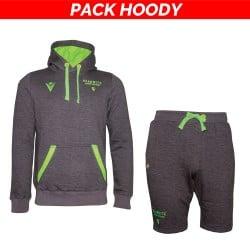 Pack Hoody : Hoody/sweat gris + bermuda gris L