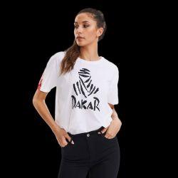 T shirt Femme BLANC Grand Logo Nomade Noir   Logo Manche