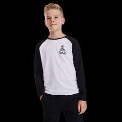 T shirt Enfant Baseball BLANC NOIR Nomade Cœur   marquage Manche