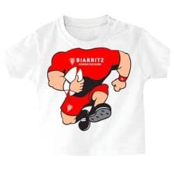 T shirt Bebe BLANC Corps Rugbyman