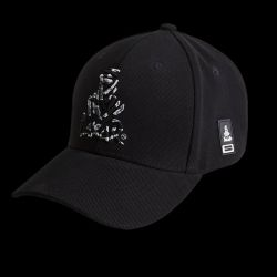 Casquette Baseball NOIRE Broderie 3D Camouflage Logo Nomade + petit pacth PVC