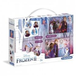 CLEMENTONI  Mini Edukit _ La Reine des Neiges 2 _ Dominos, Puzzle et 6 Cubes
