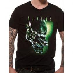 ALIENS   ALIEN HEAD T Shirt BLACK
