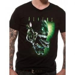 ALIENS   ALIEN HEAD T Shirt BLACK
