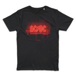 T shirt NOIR AC DC NEON STAGE LOGO