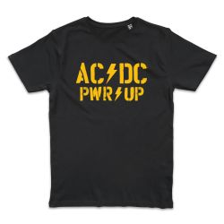 T shirt NOIR AC DC PWR UP STACK LOGO