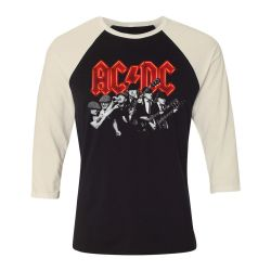 T shirt Raglan Manches Longues ECRU_NOIR AC DC B W BAND PHOTO MONTAGE