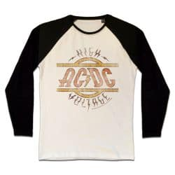 T shirt Raglan Manches Longues ECRU_NOIR AC DC HIGH VOLTAGE