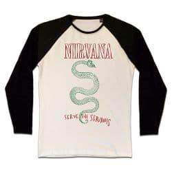 T shirt Raglan Manches Longues ECRU_NOIR NIRVANA SERVE THE SERVANTS