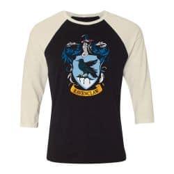 T shirt Raglan Manches Longues ECRU_NOIR HARRY POTTER RAVEN CLAW CREST