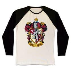 T shirt Raglan Manches Longues ECRU_NOIR HARRY POTTER GRYFFINDOR CREST