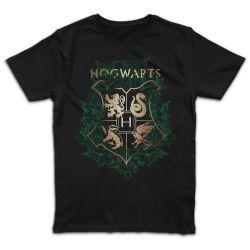 T shirt NOIR  HARRY POTTER HOGWARTS GREEN FLORAL CREST