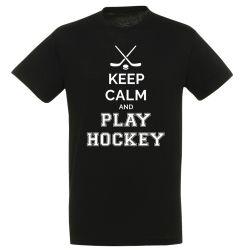 T shirt Keep Calm   Play Hockey NOIR
