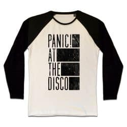 T shirt Raglan Manches Longues ECRU_NOIR  PANIC AT THE DISCO DISTRESSED BARS