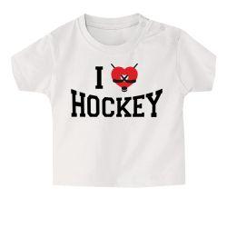 T shirt Bebe I Love Hockey BLANC
