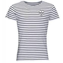 T shirt Raye BLANC_MARINE Petit Logo Spoon Cœur Poitrine