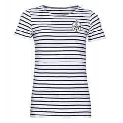 T shirt Femme Raye BLANC_MARINE Petit Logo Spoon Cœur Poitrine