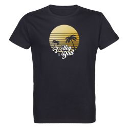 T-shirt NOIR Volley Ball California Visuel Jaune