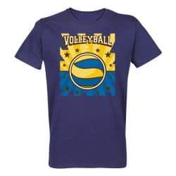 T-shirt BLEU Lithographie Volley Visuel Jaune et Bleu