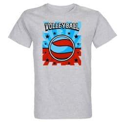 T-shirt GRIS Lithographie Volley Visuel Bleu et Rouge