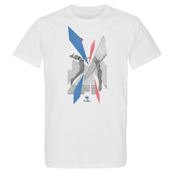 T-shirt BLANC Beach Smash Visuel Roue et Bleu