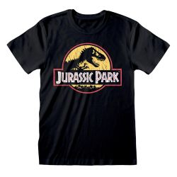 T-shirt NOIR Jurassic Park - Original Logo Distressed