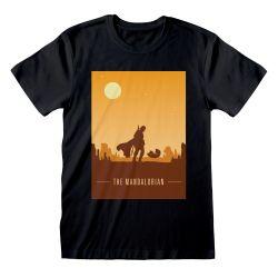 T-shirt NOIR Star Wars  The Mandalorian - Retro Poster