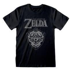 T-shirt NOIR Nintendo Legend Of Zelda - Distressed Shield
