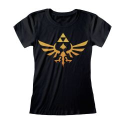 T-shirt Femme NOIR Nintendo Legend Of Zelda - Hyrule Kingdom Logo