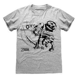 T-shirt GRIS CHINE Nintendo Legend Of Zelda - Link And Navi