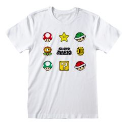 T-shirt BLANC Nintendo Super Mario - Items