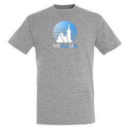 T-shirt Plus Belle La Vie GRIS Logo Soleil Degrade Bleu
