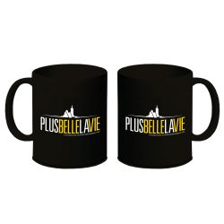 Mug Plus Belle La Vie NOIR Logo Jaune