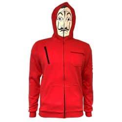 Sweat Capuche Zippe ROUGE La Casa De Papel - Mask