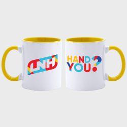 Mug Bicolore BLANC JAUNE Logo Hand You et Logo LNH