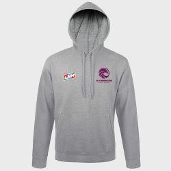 Sweat Shirt Capuche GRIS Logo LNH et Logo JS Cherbourg Manche Handball