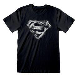 T-shirt NOIR DC Superman - Distressed Mono Logo