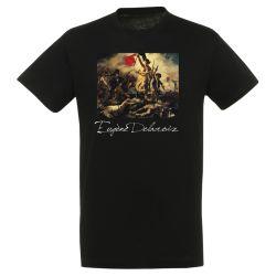 T-shirt NOIR Eugene Delacroix - La liberte guidant le peuple