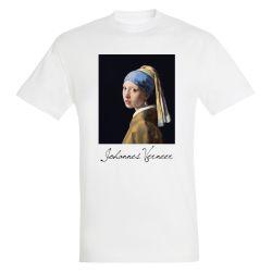 T-shirt BLANC Johannes Vermeer - La jeune fille à la perle